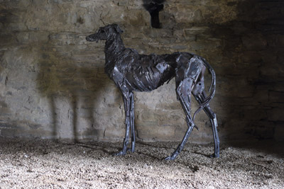 Dog Sculpture at Kidwelly castle